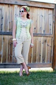 Everyday Outfit for September 6, 2012, Pretty Angel mint green lace top, vintage green yellow flower hat, Jessica beige tan capri pants, Claire's flower cream bracelet, Fluevog brown Arigato Wearevers shoes