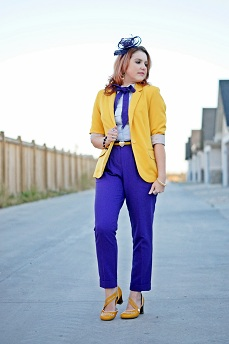 Everyday Outfit for September 28, 2012, Urban Behavior mustard yellow blazer, Jessica striped ruffle blouse, Icing purple headband, Cynthia Rowley purple ankle pants, Forever 21 mustard yellow belt, Cynthia Rowley bow tie neck tie, Fluevog mustard yellow Viardot shoes