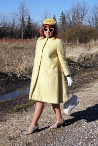 Everyday Outfit for April 16, 2012, Gainsborough by Irving Samuel mohair pale pastel coat, Vintage yellow velvet netted hat, Ardene retro sunglasses, Lechateau linen criss-cross embroidered handbag, Vintage embroidered wool wrist gloves, Fluevog Operetta Malibran