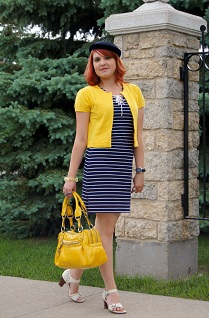 Everyday Outfit for June 7, 2012, Lauren Ralph Lauren navy white striped nautical mini dress, Nygard marigold yellow cropped cardigan, Vintage straw velvet navy hat, Nine West patent yellow handbag, Tommy Hilfiger navy automatic watch, Fluevog Renata leather sandals