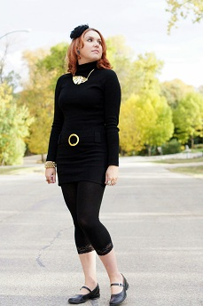 Everyday Outfit for September 22, 2012, INC International concepts black sweater tunic belted dress, Winners gold bow necklace, Expression lace leggings, Ivana Trump gold pearl coil bracelet, Fluevog black Fellowship Kathy