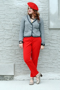 Everyday Outfit for October 5, 2012, Vintage wool red beret, Forever 21 grey embroidered crest blazer, Red express editor ankle cuffed pants, Labordorite gemstone necklace, Fluevog grey operetta Malibran heels