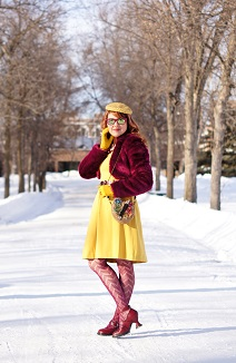 Everyday Outfit for February 10, 2014, Banana Republic L'Wren Scott Collection Faux Fur Ultra violet purple cropped bolero, Banana Republic mustard yellow fit and flare petite pocket dress, Vintage Yellow mustard velvet hat, Mary Frances Painter's Pallette beaded handmade gemstone clutch bag, Danier Leather burgundy waist belt, Vintage mustard yellow gloves, Aldo pink burgundy beaded bold necklace, Smokey Quartz bold sterling silver ring, MeMoi burgundy purple chevron fishnet tights, John Fluevog cherry Mini Dollface heels