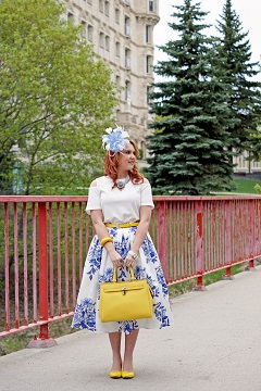Everyday Outfit for May 12, 2015, Winnipeg Style,  Chicwish blue delft china floral sketch pleated midi skirt, RW & co. open shoulder white blouse top, Danier leather Chloe saffiano leather satchel bag, Jacques Vert blue white feather fascinator hat, Heidi Daus flower necklace, John Fluevog yellow linen Big Presence Desmond pumps shoes