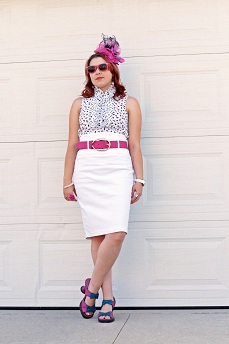 Everyday Outfit for August 29, 2012, Jay Manuel Attitude bird print sleeveless ruffle blouse, Rickis white high waisted pencil skirt, Jacques Vert pink fascinator, Danier leather hot pink belt, Fluevog hot pink blue bow leather Mini Bip sandals
