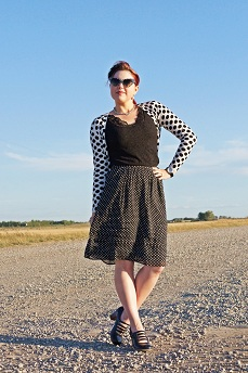 Everyday Outfit for September 2, 2012, Joe Fresh white black polka dot cardigan, Arianne black lace cami, Vintage black white polka dot sunglasses, Nygard black white polka dot skirt, Tiffany & co. logo tag necklace, Fluevog black leather Operetta Illeana maryjane shoes
