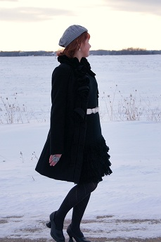 Everyday Outfit February 22, 2012, wool jacket hand made Italy, Calvin Klein dress, Le chateau beret, Fluevog Lily Darling