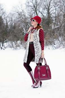 Everyday Outfit for February 26, 2013, Willi Smith wine burgundy cropped pants, Topshop faux fur chevron gilet long vest, Something Special burgundy wine wool feather rhinestone crystal bell hat, Joe Fresh cotton burgundy polka dot long sleeve blouse top, Vedette Tatienne nude lace up front bodysuit, BCBG Max Azria patent brown belt, Betsey Johnson gold crystal drop necklace, Guess burgundy patent logo handbag, Ardene cream bow sunglasses, Avon enamel gold bangle watch, The Shopping Channel pearl wrap coil bracelet, Fluevog burgundy pink victorian leather calf Mini babycake boots