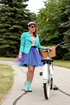 Everyday Outfit for September 10, 2013, Danier suede aqua blue bike jacket, Topshop premium sequin crop top, Jolie Sears DIY tulle purple blue skirt, Hue aqua blue ankle socks, Betsey Johnson Heavens to Betsey blue lucite heart necklace, Vintage wool purple hat, Montego Bay blue purple white 50`s style vintage bike with basket, Fluevog Fellowship blue purple Kathy flat leather saddle shoes, Summer 2013