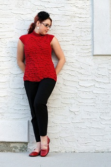 Everyday Outfit for September 3, 2012, Mac & Jac red ruffle top, black Reitmans cropped ankle pants, Fluevog red pink Kathy Fellowship flats