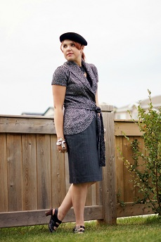 Everyday Outfit for September 21, 2012, INC International Concepts black white wrap cardigan, Tahari black ruffle top, Teenflo wool grey pencil skirt, Vintage velvet black beret, Forever 21 black leatherette flower necklace, dragon bangle, Fluevog black Operetta Fiorenza