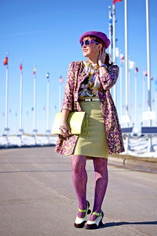 Everyday Outfit for April 20, 2013, Darling Clothes purple green, printed linen topper coat, Joe Fresh flower print white top, Banana Republic pale yellow pastel tweed cotton linen pencil skirt, Jessica purple patterned fishnet tights, BCBG Max Azria gold bow green belt, Natasha Winners green stone crystal statment necklace, Deanne Watson Jewelry green earrings, Swarovski crystal charm bracelet, Danier Object designer collection citron leather clutch bag, Wayne Clark green frog crystal ring, Natasha green crystal frog brooch pin, Avon purple dragon fly cuff watch, Parkhurst purple wool beret hat, Icing purple pink polka dot sunglasses, Fluevog limited edition lime green dark purple white Mini Gorgeous leather hourglass chunky heels