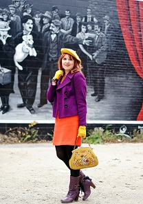 Everyday Outfit for October 29, 2013, Fall 2013, INC International Concepts plum purple petite jacket, Forever 21 gold lace top, Banana Republic lava stretch pique mini skirt, Hue tights, Vintage embroidered clasp handbag, G Moretti mustard wool beret, Isaac Mizrahi citron bow watch, Fluevog Soprano Inge purple leather calf boots