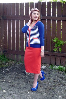 Everyday Outfit for May 10, 2012, Forever 21 blue red white striped cardigan, Forever 21 red tight skirt, Forever 21 blue patent heels, BCBG watch