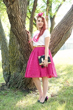 Everyday Outfit for August 20, 2014, Kate Spade Darcel printed donut tshirt, Forever 21 hot pink fuschia lace full circle skirt, Danier leather yellow belt, BCBG Max Azria gold dangle chain ear cuff, Kate Spade New York Darcel donut bangle bracelet watch, Jacques Vert pink black cream silk feather fascinator, Aldo Accessories love story book clutch bag, Melissa Karl Lagerfeld ice cream cone plastic shoes