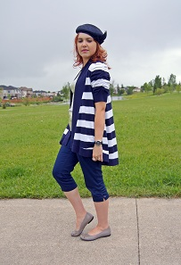 Everyday Outfit for June 17, 2012, INC International Concepts navy white striped short sleeve cardigan, Style & co. sequin tank, Navy Style & co. capris, Tommy Hilfiger automatic navy watch, Vintage Union Made navy straw hat, Fluevog Integrity Danielle grey lazer cut out flats