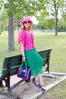 Everyday Outfit for July 5, 2012, Available hot pink fuschia lace blouse, Vintage pink ciffon bow straw hat, Forever 21 bright green accordian midi skirt, Wayne Clark green crystal turtle bangle, Bodhi handbags candy colorblock pink green purple satchel, Fluevog purple brown leather bellevue pearl hart shoe