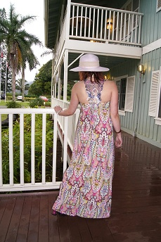 Everyday Outfit February 29, 2012, Ocean breeze maxi dress, Nine West hat, Fluevog Bips