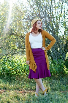 Everyday Outfit for September 13, 2012, RW & co. mustard front drapped cardigan, Melanie Lyne purple cotton skirt, Vintage mustard wool hat, Fluevog mustard Operetta Viardot