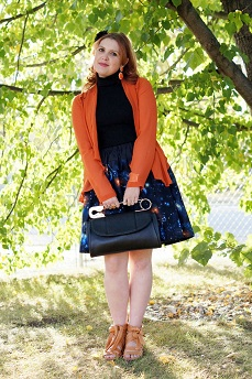 Everyday Outfit for September 23, 2012, Forever 21 pumpkin orange sheer cardigan jackwt, INC International Concepts black ribbed turtleneck sweater, Roobys Skirts galaxy print full skirt, Fluevog ginger orange Hope Aspire wrap sandals