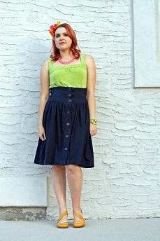 Everyday Outfit for September 9, 2012, Kim & co. lime green tunic dress top, Vero Moda navy blue high waist retro skirt, Adia Kibur neon pink necklace and earrings, Icing flower headband, Fluevog mustard yellow Operetta Viardot shoes