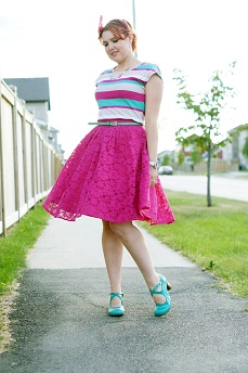 Everyday Outfit for September 5, 2012, Reitmans pink green striped top, Forever 21 hot pink lace full circle skirt, Danier green leather belt, Icing feather butterfly headband, Fluevog blue turquoise white leather shoes