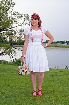Everyday Outfit for June 12, 2012,  Alfani white tshirt, RW & co. white cotton skirt, Claires red white heart suspenders, Vintage liquor labels handbag, Coach heart print ponytail hair scarf, Betsey Johnson lip print bangle, Fluevog red white Operetta Malibran leather maryjane shoes