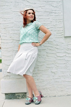 Everyday Outfit for September 12, 2012, Forever 21 mint polka dot peter pan collar sheer top, Jessica grey pleated skirt, Vintage hat, Fluevog sample sale one of a kind Hi Choice shoes