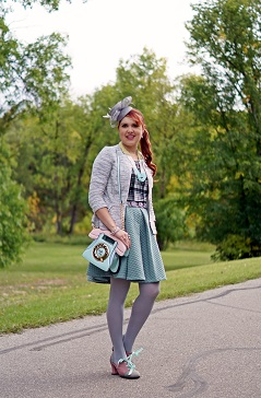Everyday Outfit for September 17, 2014, H&M grey white peplum tweed blazer, H&M mint green quilted circle full skirt, Mac & Jac green mint black white plaid top, BCBG Max Azria crystal beaded flower belt, Precis petite grey flower fascinator hat, Aldo Accessories Call me pastel telephone handbag purse, Hue Grey tights, Reitmans seed bead necklace, Generation 1912 morganite sapphire earrings necklace, John Fluevog one of a kind sample leather heart heels