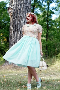 Everyday Outfit for September 4, 2012,Topshop mutilcolor premium sequin cropped top, mint green tulle gauze skirt, silk floral crown, H&M mint green pearl collar, Juicy Couture floral embroidered terry bowling bowler bag, Forever 21 bracelet bangle, Claires floral ring, Fluevog mint green Operetta Fiorenza slingback leather shoes
