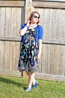 Everyday Outfit for July 6, 2012, Nine West printed dress, Nygard cobalt blue crystal cropped cardigan, Vintage retro polka dot sunglasses, Forever 21 bow headband, Fluevog cobalt blue leather Operetta Fiorenza