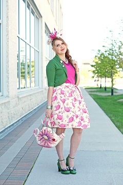 Everyday Outfit for June 2, 2015, Winnipeg Style, Chie Mihara Geraldine green eyelash leather shoes pumps, INC International Concepts green cropped cardigan, Roobys skirts pink teapot tea 50's modern vintage style circle etsy skirt, Handmade wool felt pink flower teapot purse handbag, Jacques Vert feather silk flower hot pink fuchsia fascinator hat, Teapot teacup wood brooch, Lisa Sophia bangle, Kate Spade New York gold leather watch
