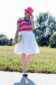 Everyday Outfit for July 21, 2012, Gap striped hot pink cotton blouse top, RW & co. white cotton circle skirt, Vintage hot pink bow straw hat, Danier Object citron leather clutch, Icing white heart sunglasses, Fluevog limited edition Mini Gorgeous