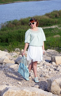 Everyday Outfit for May 17, 2012, Mint Max Studio Blouse, Retro white Ardene sunglasses, Mint white Moon swirl skirt, Mint leather Red Carpet Collection satchel handbag purse, Mint Forever 21 bow headband, Mint Operetta fiorenza leather slingback shoe