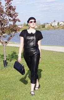 Everyday Outfit for May 13, 2012, Danier black leather Mark Fast overalls, Forver 21 black polka dot top, Forever 21 pearl collar, Vintage black wool hat, Icing sunglasses, Bodhi safety pin clutch leather, Pearl coil bracelet, Fluevog Fellowship Kathy flat leather shoes