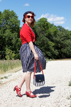 Everyday Outfit for July 29, 2012, Evan Picone navy white striped cotton dress, INC International Concepts red cropped cardigan shrug, Vintage navy straw hat, Ardene red heart sunglasses, Vintage Rhymes with orange straw navy white red handbag, Fluevog red white Operetta Malibran maryjane shoes