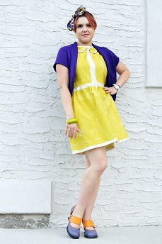 Everyday Outfit for September 10, 2012, Tony Chestnut citron yellow green hand painted cotton dress, Nygard purple shrug, Icing bow chain print headband, Fluevog purple orange Mini zaza hourglass heels