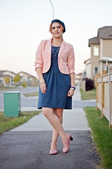 Everyday Outfit for September 24, 2012, Forever 21 baby pink lace cropped blazer, Vero Moda blue dress, Le Chateau blue knit beret, Fluevog baby pink Operetta Malibran
