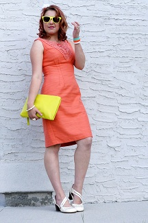 Everyday Outfit for August 6, 2012, London Times coral crochet dress, Diesel green orange white bangle watch, Ardene neon yellow sunglasses, Neon yellow Danier leather clutch, Joan Rivers white gold bangle, Fluevog cream grey operetta Viardot