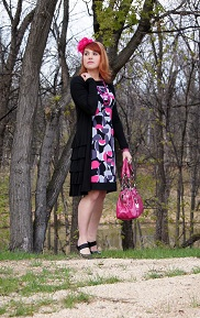 Everyday Outfit for May 1, 2012, London Times geometric dress, Danier long ruffle dress cardigan, Icing pink flower headband, Nine West pink patent handbag, black patent Colin Stuart shoes