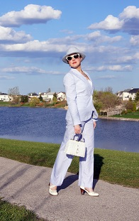 Everyday Outfit for May 10, 2012, Jessica blue white striped pant blazer suit, Parkhurst baby blue angora fedora hat, Vintage white wicker handbag, Fluevog cream Operetta Viardot leather heels, Icing white sunglasses