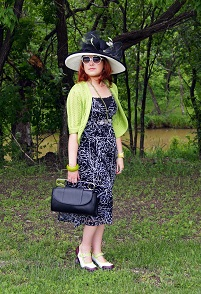 Everyday Outfit for June 27, 2012, Mexx printed mesh maxi dress, Nygard lime neon green crochet shrug, lime green pearls, Jacques Vert lime green, black white hat, Bodhi Safety Pin Clutch bag, Icing heart white sunglasses, Fluevog limited edition Mini Gorgeous maryjane shoes