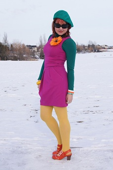 Everyday Outfit February 19, 2012, Teenflo dress, Style & co. turtleneck, Hue tights, Wayne clark pin, Fluevog Fiorenza