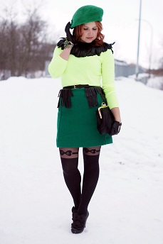 Everyday Outfit for December12, 2012, Forever 21 neon yellow sweater jumper, Joe Fresh emerald green pocket mini skirt, Vintage black feather collar, BCBG Max Azria black leather fringe belt, Vintage emerald green wool beret hat, Bodhi handbags black calf hair clutch clasp bag purse, Forever 21 bow garter tights, Danier black leather driving gloves, Wayne Clark green crystal turle bangle cuff bracelet, Chie Mihara Atame bow leather black shoes heels