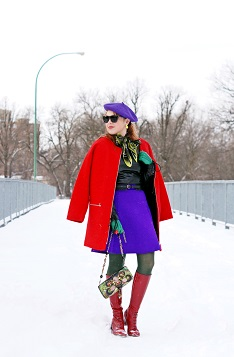Everyday Outfit for December 11, 2013, Winter 2013, Forever 21 boiled wool overized mod red coat, Mark Fast for Danier collabortion lamb leather lace up sleeve long sleeve top, River Island scuba purple a-line skirt, Greta Constantine 5 Gum collaboration silk printed scarf, Vintage wool purple beret, Natasha crystal parrot brooch pin, Mary Frances Force of Nature watercolor green beaded purse clutch bag, Vintage kelly green leather gloves, Adia Kibur neon yellow earrings, Hue tights hunter green, Fluevog red patent leather knee high Operetta Zinka boots