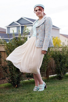 Everyday Outfit for September 20, 2012, Votre Dom baby blue tweed blazer, baby blue vintage hat, Forever 21 cream chiffon midi skirt, Reitmans baby blue tshirt, Forever 21 pearl waterfall necklace, baby blue Operetta Fiorenza slingbacks