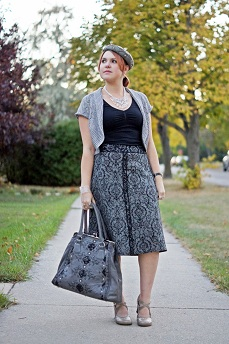 Everyday Outfit for September 26, 2012, Nygard silver lurex cropped cardigan shrug, Jeanne Beker cami tank top, Jessica Brocade print grey black wool skirt, Nicole Lee grey black lace clutch top handbag, Vintage wool pearl beret hat, Fluevog grey Operetta Malibran