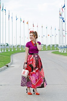Everyday Outfit for May 26, 2015, Winnipeg Style, Chicwish exotic blooms floral maxi skirt, Kate Spade hello shanghai cruz take out chinese box clutch handbag, BCBG Max Azria crystal belt, Heidi Daus Leap Frog necklace, Jacques Vert feather red white fascinator, dconstruct eco-friendly recycled bangle, Isaac Mizrahi citron bow watch, John Fluevog limited edition Queen Transcendent Nefertiti tomato red black pink leather unique art heels