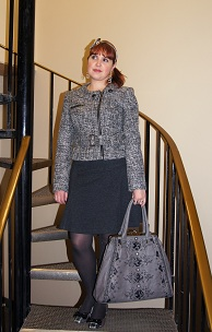 Everyday Outfit March 26, 2012, Mac & Jac tweed blazer, Reitmans skirt, Nicole Lee handbag, plaid Naturalizer flat shoe