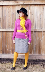 Everyday Outfit March 31, 2012, Danier v-neck sweater, Forever 21 mustard scarf, Garuglieri mustard croco print leather belt, Galliano Sorbatti wool hat, Hue mustard tights, Le chateau skirt, Fluevog Lily Darling
